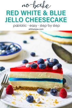 This Americana-inspired Red White and Blue Jello Cheesecake is no-bake, easy to make, and the perfect patriotic dessert for Memorial Day and 4th of July celebrations. | allthatsjas.com | #nobake #cheesecake #jello #redwhitenadblue #holiday #dessert #sweets #treat #homemade #patriotic #easy #allthatsjas #fromscratch #recipes #celebration #springform #gelatin #fourtofjuly #memorialday #laborday Patriotic Desserts, Fun Desserts, Dessert Recipes, Birthday Desserts, Easter Desserts, Strawberry Desserts, Dinner Recipes, Jello Cheesecake, Cheesecake Recipes