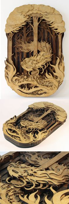 Splendid Wood Cutout Sculptures by Martin Tomsky. www.DesignPLX.com Follow world's all design blogs in one website. Repin not to forget.