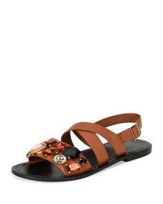 Jeweled+Leather+Flat+Sandal,+Caramel+by+Marni+at+Neiman+Marcus.