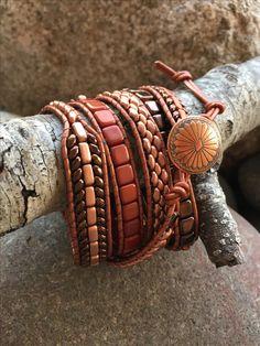 Beaded Bracelet Patterns, Beaded Wrap Bracelets, Beaded Jewelry, Handmade Jewelry, Jewellery, Leather Cord Bracelets, Leather Jewelry, Beaded Leather Wraps, Bracelet Tutorial