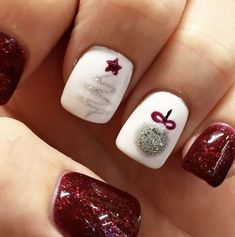 Christmas Nails That Boost Your Mood Winter nails. Fun designs for manicuresWinter nails. Fun designs for manicures Christmas Nail Art Designs, Winter Nail Designs, Christmas Ideas, Christmas Tree Nails, Christmas Night, Christmas Shellac Nails, Christmas Design, Holiday Nail Art, Holiday Nails 2018