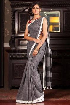 Grey & White Khadi Cotton Saree With White Border