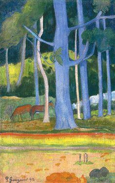 Paul Gauguin (1848-1903) Paysage aux troncs bleus