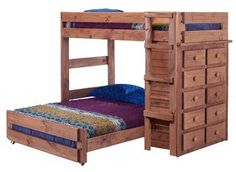 Chelsea Home 315030 Twin Over Full Loft Bed with 10 Drawer Chest Mahogany Stain