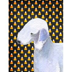 Caroline's Treasures Bedlington Terrier Candy Corn Halloween House Vertical Flag