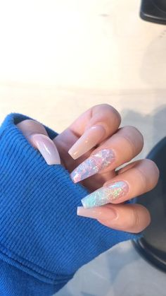 Newest Coffin Acrylic Nail Art Designs 2019 Glitter coffin nails; short, medium and long coffin acrylic nails; Classy Acrylic Nails, Best Acrylic Nails, Cute Acrylic Nails, Coffin Acrylic Nails Long, Acrylic Nails With Glitter, Acrylic Nails Autumn, Acrillic Nails, Coffin Nails Glitter, Colored Acrylic Nails