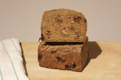 100% rye sourdough. A good wintery loaf, studded with raisins and walnuts.