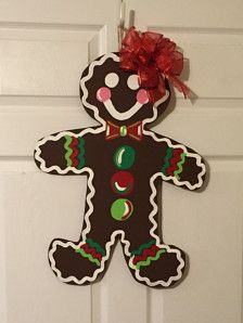 Door Hanger - Wood Cut Out - Christmas Gingerbread man. This adorable Christmas Gingerbread Man can be changed to better meet your style!