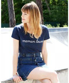 Le t-shirt Maman Louve - Bleu chiné sur émoi émoi