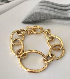 Preciosa pulsera de eslabones de plata maciza bañada en oro fino reforzado ( disponible también en plata)