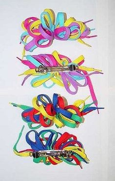 Shoelace hair bows - I had so many of these!