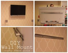 DIY TV wall mount bracket - this doesn't bring you to the tutorial or even the picture above. I wanted to pin this for the visual. We are going to try to use hooks on the wall and angle iron on the back of the tv. Diy Tv Wall Mount, Best Tv Wall Mount, Tv Wall Mount Bracket, Wall Mounted Tv, Diy Wall, Mount Tv, Hide Tv Cables, Family Room Colors, Basement Remodeling