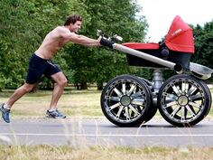 """Overcompensation much? The """"manly"""" baby stroller by Skoda... Hahahahahahaha!!!!!!!"""