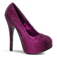 "Bordello Shoes - Teeze-06R Purple Satin with Purple Rhinestones Concealed Platform Pumps with 5 3/4"" Heel $154.95"