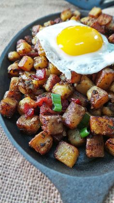 Bangin' Breakfast Potatoes made in a cast iron skillet - yum!!