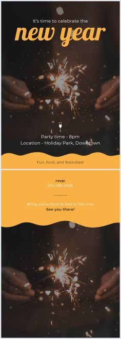 New Year's Eve is a time to spend with people that you cherish. Invite them over this year with this modern New Year's Eve invitation template. New Years Eve Invitations, Party Invitations, Best Templates, Card Templates, Pizza Wedding, Online Cards, Happy New Year Design, Time To Celebrate, New Years Party