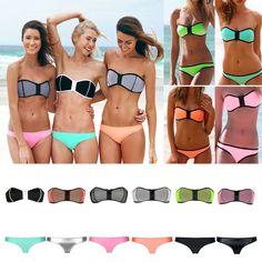 Sexy NEOPRENE Triangle BIKINI Set Strapless Push Up zipper Bra Swimwear Swimsuit #Unbranded #Bikini