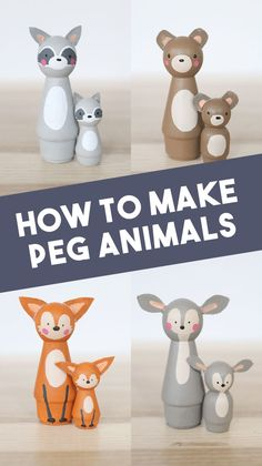 Learn how to make your own wood peg doll animals. They're a perfect cake topper for a baby shower or kids birthday party. They make adorable wooden toys too! Care Skin Condition and Treatment Oil Makeup Cool Diy Projects, Projects For Kids, Diy For Kids, Crafts For Kids, Do It Yourself Crafts, Crafts To Make, Easy Crafts, Wood Peg Dolls, Clothespin Dolls