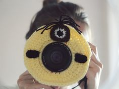 Crochet buddy. Crochet minion. Camera buddy. Lens critter. Photographer helper. Crochet accessory. Photo Prop. Camera Lens Accessory.