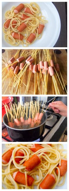 Hairy Hot Dogs or would that be Scary Spaghetti?! This super simple recipe is perfect for cooking with kids this Halloween.