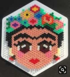 Even More Hama Beads 11 July 2018 – Upstairs at The Palmerston, 91 Lordship Lane Frida Kahlo by C… Perler Bead Designs, Easy Perler Bead Patterns, Melty Bead Patterns, Perler Bead Templates, Hama Beads Design, Diy Perler Beads, Perler Bead Art, Beading Patterns, Hama Beads Coasters