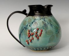 Chubby Pitcher with Red Berries | Suzanne Crane | Artful Home