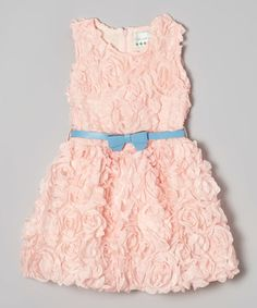 Loving this Light Pink & Blue Rosette Bow Dress - Toddler & Girls on #zulily! #zulilyfinds