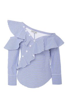 Self Portrait creates fresh, feminine pieces that feel special yet accessible. Crafted from striped cotton poplin, this style has a cutout off-the-shoulder neckline that's framed by oversized ruffles. Wear yours with denim or tucked into a skirt post-six.