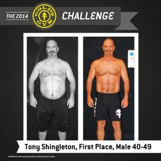 """""""The Gold's Gym Challenge helped me get off the yoyo wagon & maintain a healthy lifestyle from here on out!"""" – Tony Shingleton, First Place – Male Lost 52 lbs, inches and body fat. 12 Week Challenge, Weight Loss Challenge, Workout Challenge, 12 Week Body Transformation, Win Cash Prizes, New Year Goals, Thing 1 Thing 2, Fitness Inspiration, Coaching"""