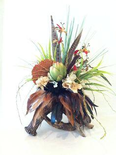 Deer Antler Arrangement - Faux Floral Arrangement made on Faux Double Deer Anters - Silk Floral Arrangeement - Cabin Lodge Rustic Decor
