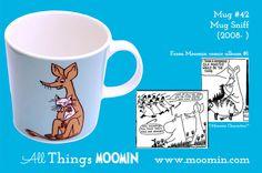 42 Moomin mug Sniff blue Tove Jansson, Moomin Mugs, Marimekko, Finland, Childhood, Trays, Tableware, Den, History