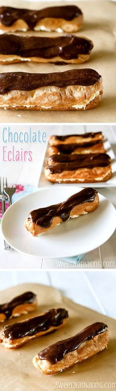 Chocolate Eclairs Recipe by Sweet2EatBaking.com | Don't be put off by the choux pastry, it's easy to make! A quick and easy dessert recipe.