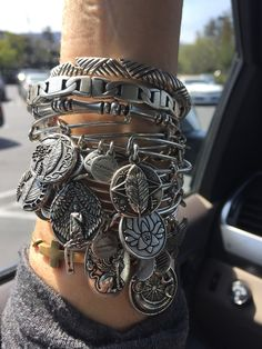 Alex and Ani stack! Alex And Ani Bracelets, Silver Bracelets, Bangle Bracelets, Silver Earrings, Bangles, Silver Ring, Silver Jewelry, Bohemian Accessories, Jewelry Accessories