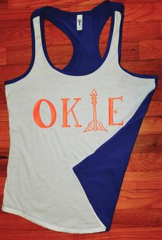 Oklahoma city Okie tank top arrow okc blue and orange arrow basketball thunder cute tank top two times. Royal blue orange Oklahoma state by southernblendtees2 on Etsy