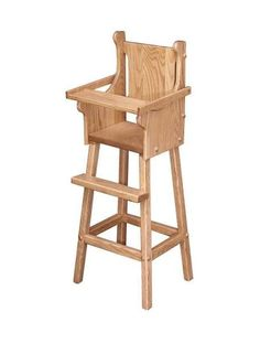 Amish Oak Wood Doll High Chair Doll furniture for playtime. This high chair is handcrafted with solid wood. #woodtoys