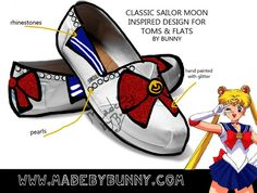 SAILOR MOON | Bishōjo Senshi | Magical Girl | Design for TOMS and flats with rhinestones, glitter and pearls crystal