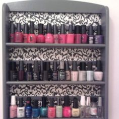 Wallpaper (or use drawer contact paper) on old spice rack for nail polish display