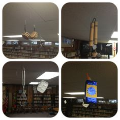 Lunch Lady gadgets hang from the ceiling of the library at Pak Elementary!
