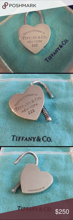 Tiffany & Co Heart lock pendant or key charm Tiffany & Co Heart lock pendant or key charm. 100% Authentic. Comes with a Tiffany string pouch. Absolutely no trades. A must for every Tiffany collector. Excellent used condition. Feel free to make an offer. Tiffany & Co. Jewelry