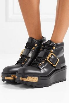 cf7d19c556f1 Prada - Embellished leather wedge ankle boots