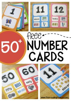 Community Helpers Preschool Discover Free Number Cards Levels} - This Reading Mama 50 Free Number Cards for with 3 levels of learning! Teaching Numbers, Numbers Preschool, Math Numbers, Preschool Math, Math Classroom, Kindergarten Activities, Teaching Math, Writing Numbers, Learning Activities