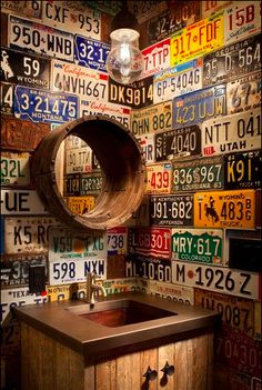 license plates. good for basement bathroom