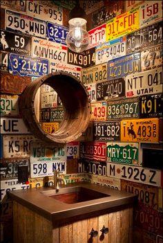 license plates. good for basement bathroom