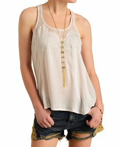 Willow  Clay Embroidered Floral and Mesh Tank Top