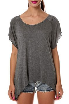 Casual Style Scoop Neck Short Sleeve Pure Color Asymmetrical Women's T-Shirt