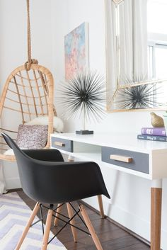 This teen bedroom makeover is a stunner. Filled with whimsical touches, it boasts a modern study space with office accessories that are anything but boring.