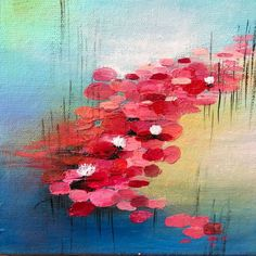 Lotus Painting, Lily Painting, Acrylic Painting On Paper, Water Lilies Painting, Small Canvas Paintings, Small Canvas Art, Small Paintings, Contemporary Paintings, Original Paintings