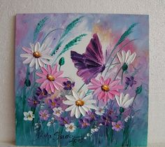 Pink White Daisies Butterfly Original Impasto Oil Painting Meadow Europe Artist #Impressionism