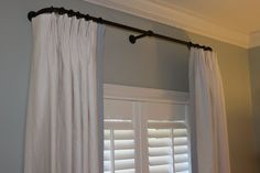 Master bedroom - I like the color of blue walls, crown molding, plantation shutters with curved rod and drapery! Shutters With Curtains, Drapes Curtains, Window Shutters, Master Bedroom Makeover, Bedroom Windows, Blue Walls, Window Treatments, Window Coverings, Girl Room
