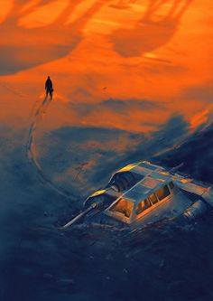 Illustration of the famous Snowspeeder crash scene from Star Wars V: The Empire Strikes Back  -  In the middle of nowhere by faust8 on DeviantArt